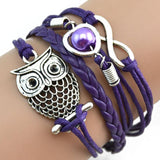 SUSENSTONE Fashion Women sterling-silver-jewelry Lovely Infinity Owl Pearl Friendship Multilayer Charm Leather Bracelets Gift