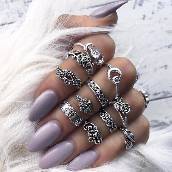 11pcs/Set Women Bohemian Vintage Silver Stack Rings Above Knuckle Blue Rings Set Totems 11 piece suit Combination suit Ring #45 - The Rogue's Clothes