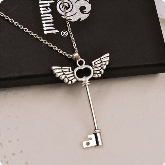 2016 new arrival women necklace girl Angel wings Key Friendship Pendant Long Chain Silver Necklace Jewelry vintage chain kolye - The Rogue's Clothes