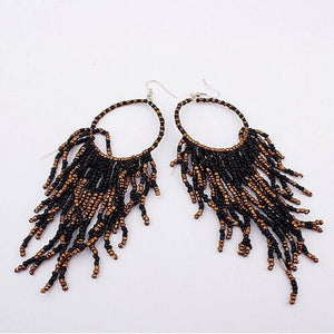 Bohemian Fringed Long Section Of Big Beads Pendant Drop Earrings BK - The Rogue's Clothes