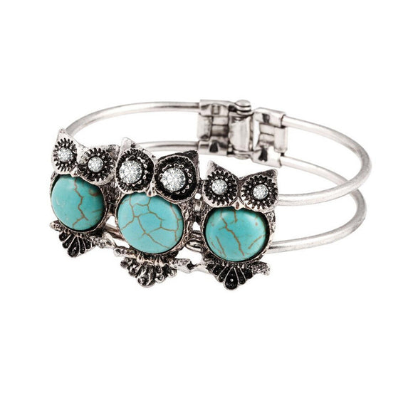 Bohemian Style Retro Cute Owl Plating Lady Bracelet With Turquoise - The Rogue's Clothes