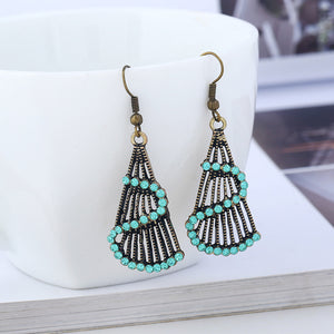 Colorful Delicate Women Bohemian Alloy Rhinestone Hook Dangle Pendant Earrings - The Rogue's Clothes