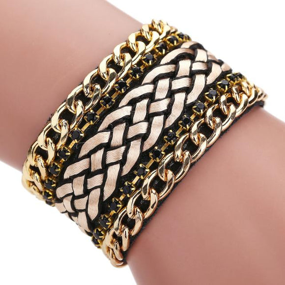 Women Bohemian Crystal Magnetic Clasp Bracelets Wrist Chains Gold