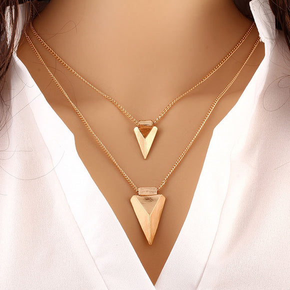 Fashion Women Two Layer Arrow Gold Pendant Chain Statement Necklace