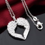 Fashion Women Silver Diamond Angel Wing Heart Pendant Necklace Jewelry