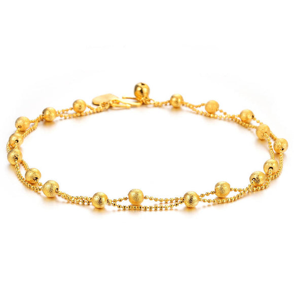 Gold Double Foot Chain Anklet Ankle Bracelet Barefoot Beach Foot Jewelry