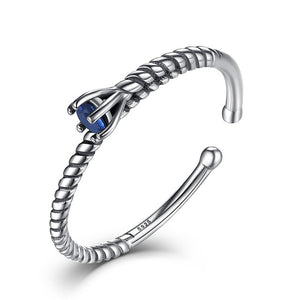 VOROCO Deep Sea Star Rings Sterling Silver 925 Mysterious Deep Blue Simple Adjustable Open Rings Woman Gift Jewelry VSR042
