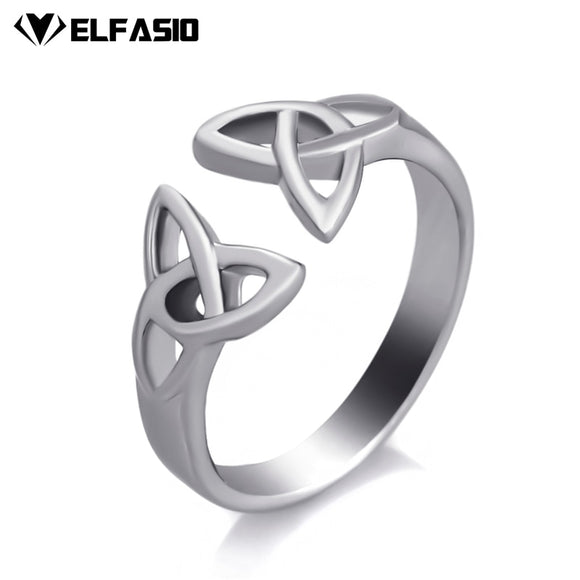 Elfasio Women's Girl's Stainless Steel Ring Celtic Knot Silver Tone Fashion Jewelry