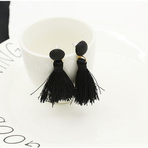 Bohemian Women Fashion Woolen Tassels Earring Gorgeous Jewelr Black - The Rogue's Clothes