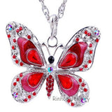 Butterfly Necklace Butterfly jewelry Autumn accessories popular hip enamel crystal butterfly pendant long necklace chain women