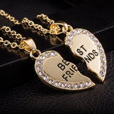 Best Friend Unisex Mens Womens Heart Pendant Necklace Jewelry Chain GD - The Rogue's Clothes