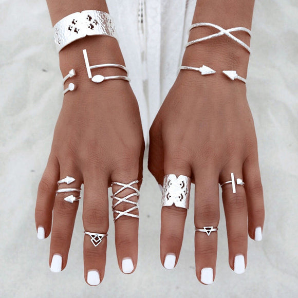 6pcs/Set Women Bohemian Vintage Silver Stack Rings Above Knuckle Blue Rings Set - The Rogue's Clothes