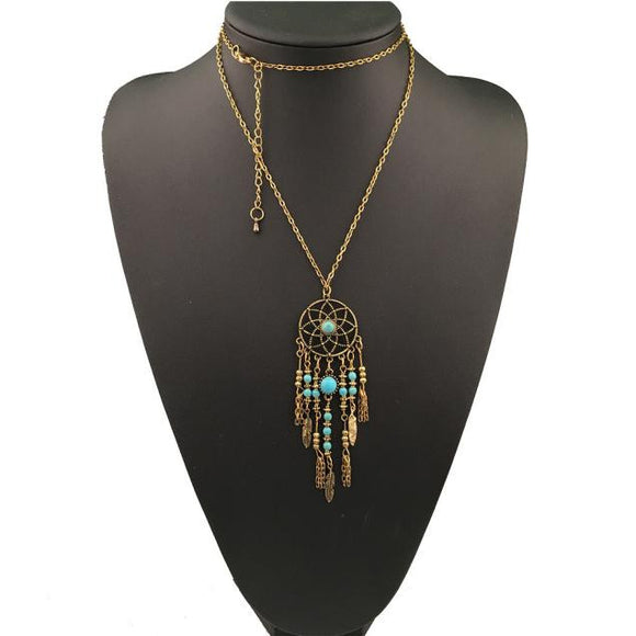 Bohemian Ethnic Merry Su Dreamcatcher Necklace GD - The Rogue's Clothes