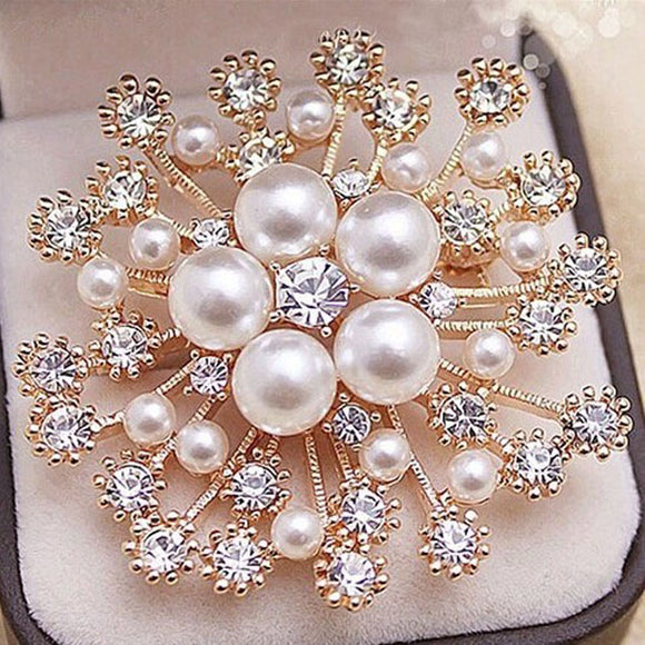LNRRABC Fashion Women Large Brooches Lady Snowflake Imitation Pearls Rhinestones Crystal Wedding Brooch Pin Jewelry Accessorise