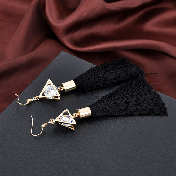 Bohemian Women Fashion Woolen Tassels Earring Gorgeous Hoop Earrings Jewelry BK - The Rogue's Clothes