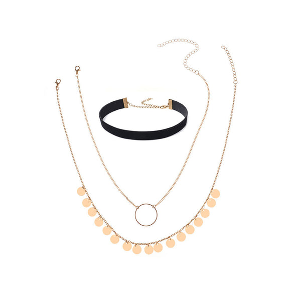 Fashion Women Jewelry Necklace Chain Three Pieces Set Necklace  GD