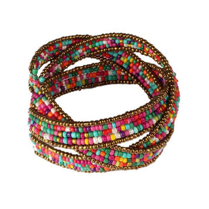New Fashion Lady Bohemian Beaded Bangle Bracelet Multilayer Jewelry  CL