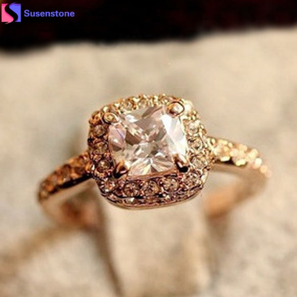 SUSENSTONE 2016 Prom wedding engagement anniversary alloy code Gold Princess ring