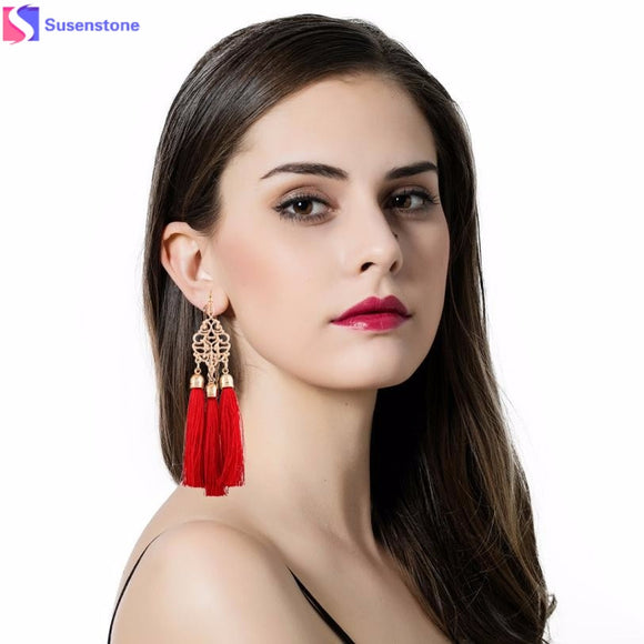 SUSENSTONE dropship Bohemian Earrings Women Long Tassel Fringe Dangle Earrings Temperament retro tassel earrings wholesale #GH35