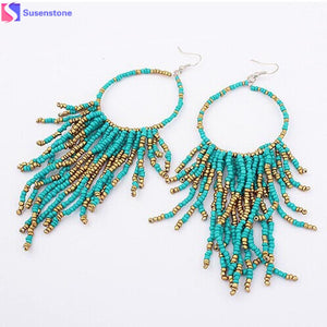 Long Earrings For Women Fashion Bohemian Fringed Long Section Of Big Beads Pendant Drop Earrings