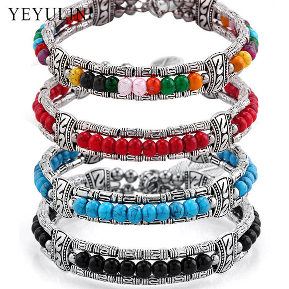 Vintage tibetan silver feather colorful beads charm bracelet Gypsy Bohemian style bangle jewelry for women