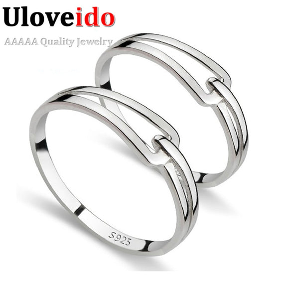 Crystal  Valentine's Day Gift Couple Rings Silver Color Sona Engagement  Red Jewelry Women's Tops Fashion Wedding Ring J208