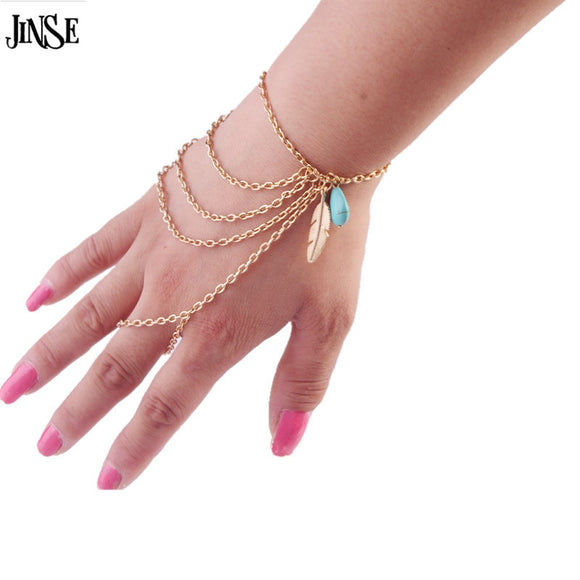JINSE New Fashion Leaf Natural stone Pendant Slave Bracelet Hand Chain Charm Bohemian Boho Hand Jewelry for Women  HC010