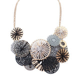 2017 women Autumn flowers necklace&pendants Gold-color winter black grey boho collar pink blue big chokers necklace jewelry new