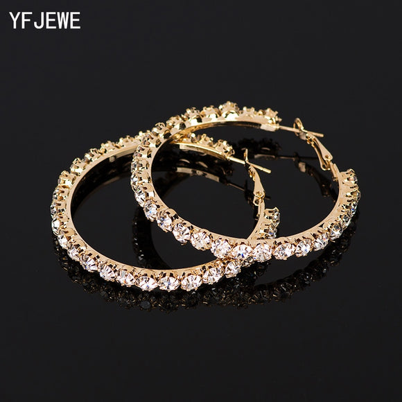 YFJEWE 2018 New Designer Crystal Rhinestone Earrings Women Gold Sliver Hoop Earrings Fashion Jewelry Earrings For Women #E029