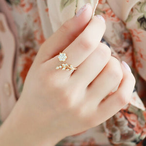NJ25 Korean Twisted Leaves Flower Rhinestone Open Ring Rose Gold Color Finger Ring For Women Statement Adjustable Ring Wholesale
