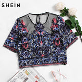 SHEIN Embroidery Womens Tops Buttoned Keyhole Botanical Embroidered Mesh Top Multicolor Short Sleeve Crop Blouse