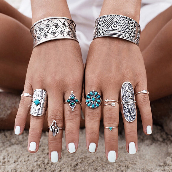 FAMSHIN 9pcs/Set Vintage Ring Set Unique Carved Antique Silver Knuckle Rings for Women Gypsy Midi Anel Boho Beach Jewelry