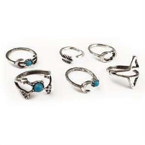 15-19mm Vintage Set 6 pcs Boho upper joint  ring - The Rogue's Clothes