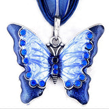 Women Fashion Jewelry Butterfly Crystal Pendant Necklace Chain