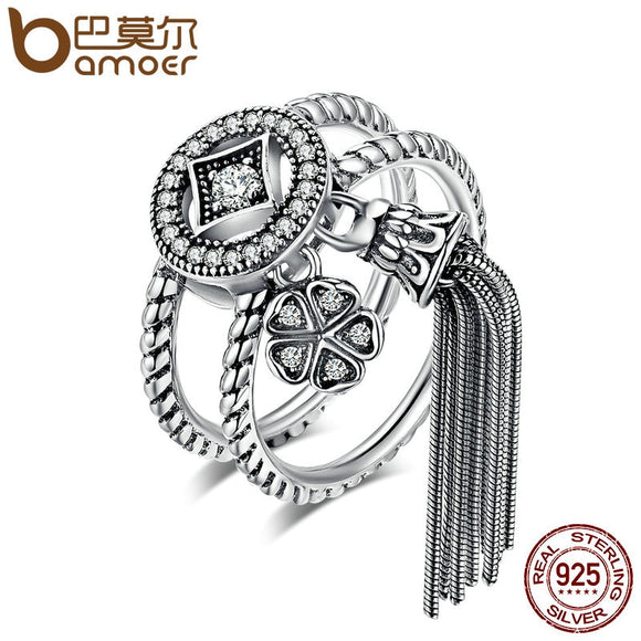 BAMOER 100% 925 Sterling Silver Double Layer Round & Geometric Long Tassel Finger Ring for Women Bohemian Vintage Jewelry SCR088 - The Rogue's Clothes