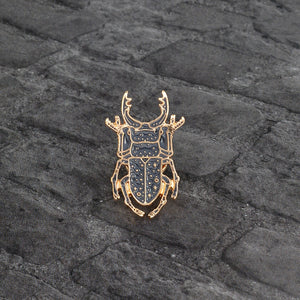Beetle Insect Metal Brooch Pin Button Enamel Black Animel Icon Pin Backpack Denim jacket Collar Lapel Badge Jewelry for Kids