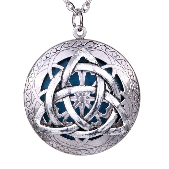Antique Silver Celtics Knots Locket Essential Oil Diffuser Exquisite Pendant Necklace Jewelry Bohemia Style Gift Pouch - The Rogue's Clothes