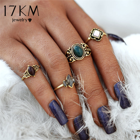 17KM Bohemian Multicolor Turkish Flower Midi Rings Sets Punk Style Acrylic Crystal Party Rings for Women Anillos Man Jewelry - The Rogue's Clothes