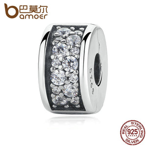 BAMOER 925 Sterling Silver Shining Shining Elegance Clip, Clear CZ Charms fit Bracelet for Women DIY Jewelry Making PAS310 - The Rogue's Clothes
