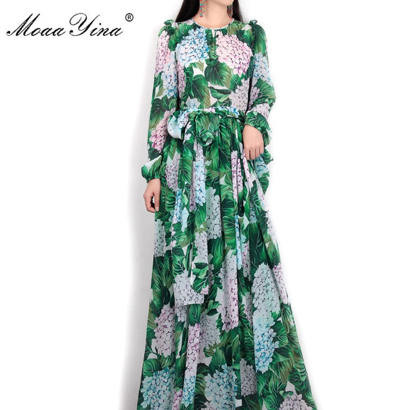 MoaaYina Summer Runway Maxi Dress Women's Long  Sleeve Casual Bohemian Party Holiday Green Leaves Floral Printed Long Dress