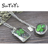 SUTEYI Lucky Clover Glass Necklace Dried Flowers Natural Wish Ball Pendant Crystal Necklaces For Women Choker Female Jewelry