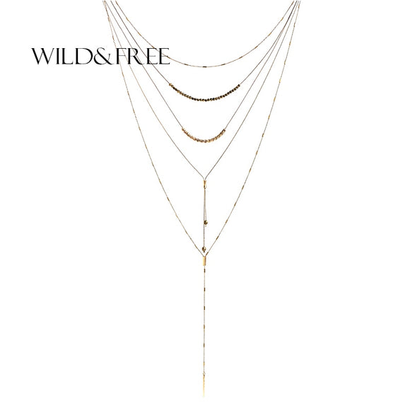 WILD & FREE Bohemia Style Multi Layered Necklace For Women Vintage Autumn&Winter Long Sweater Necklace Drop Ship Brand Jewelry