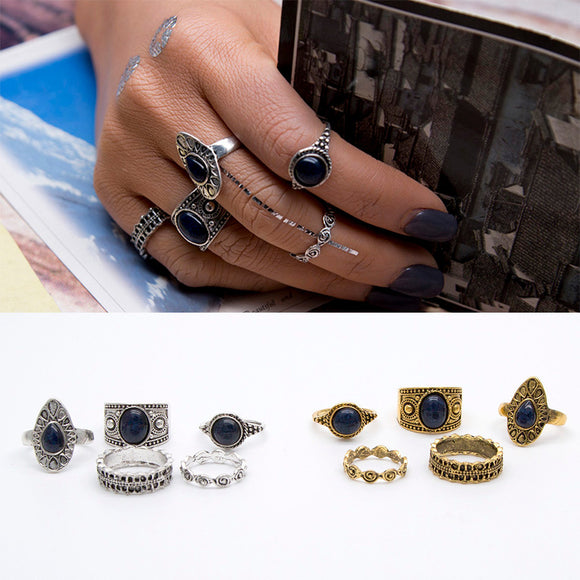 5pcs/Set Women Bohemian Vintage Silver Stack Rings Above Knuckle Blue Rings Set - The Rogue's Clothes