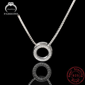 Newest Fashion Elegant Rhinestone Necklaces & Round Pendants Neckalce 925 Sterling Silver Choker Necklace For Women Jewelry Gift