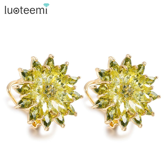 LUOTEEMI  New AAA+ Top Olive Green & Purple CZ Charm Secret Fragrance Flower Stud Earrings Women Tops Fashion Luxury Jewelry