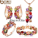BAMOER Luxury Gold Color Mona Lisa Jewelry Sets with Multicolor AAA Cubic Zircon for Women Wedding Bridal Jewelry Sets ZH036 - The Rogue's Clothes