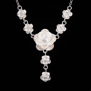 Fashion Silver Color Flower Pendant Necklace for Women Wedding Party Chokers Necklace Statement Jewelry valentines day gift