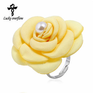 2018 Fashion Flower Rings Costume Jewelry Alloy Fabric Beads Resizable Rings Yellow Large Flower Rings for Women Christmas Gift - The Rogue's Clothes