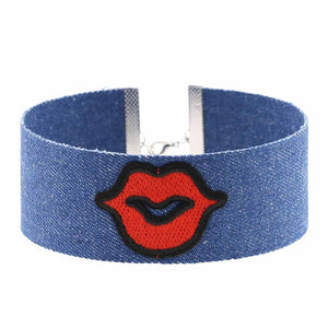 Trendy Handmade Embroidered Red Rose Flower Denim Choker Necklace For Women Bohemia Collar Jewelry