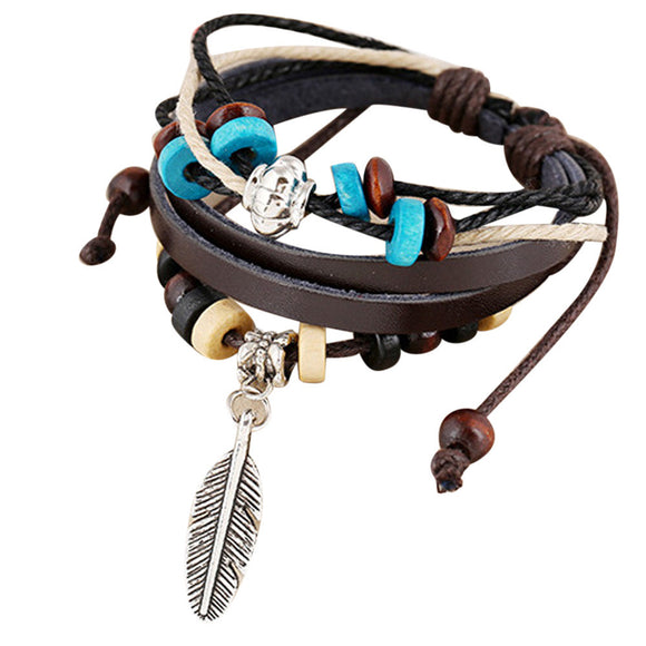 Fashion Women Multilayer Handmade Wristband Leather Bracelet Bangle